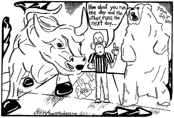 600x407 Maze Cartoon Of Bulls And Bears At Nyse Yonatan Frimer Drawing By