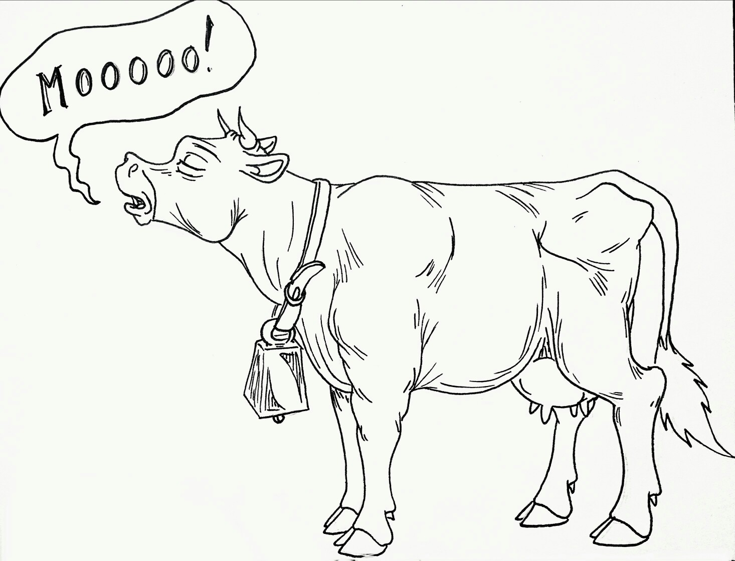 1466x1119 Mooing Cow Line Sketch. By Eric Daniel Muntz, 2017 Cartoon
