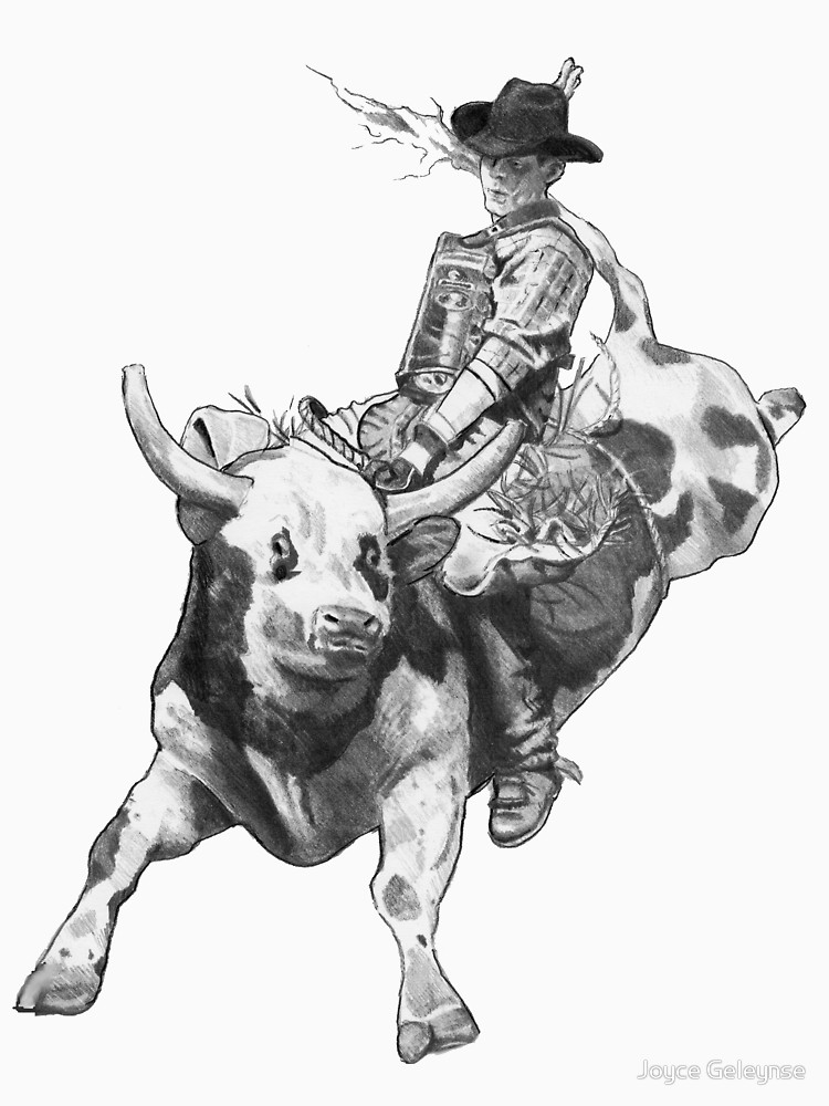 750x1000 Cowboy Riding A Bull, Rodeo, Pencil Drawing, Eight Seconds