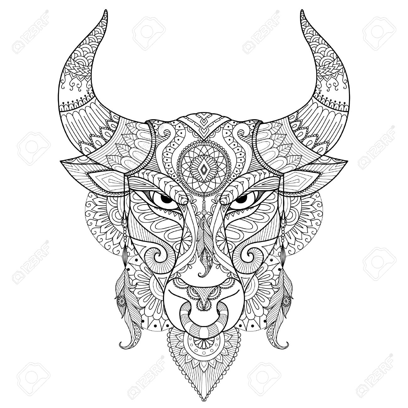 1300x1300 Drawing Angry Bull For Coloring Book,tattoo,t Shirt Design
