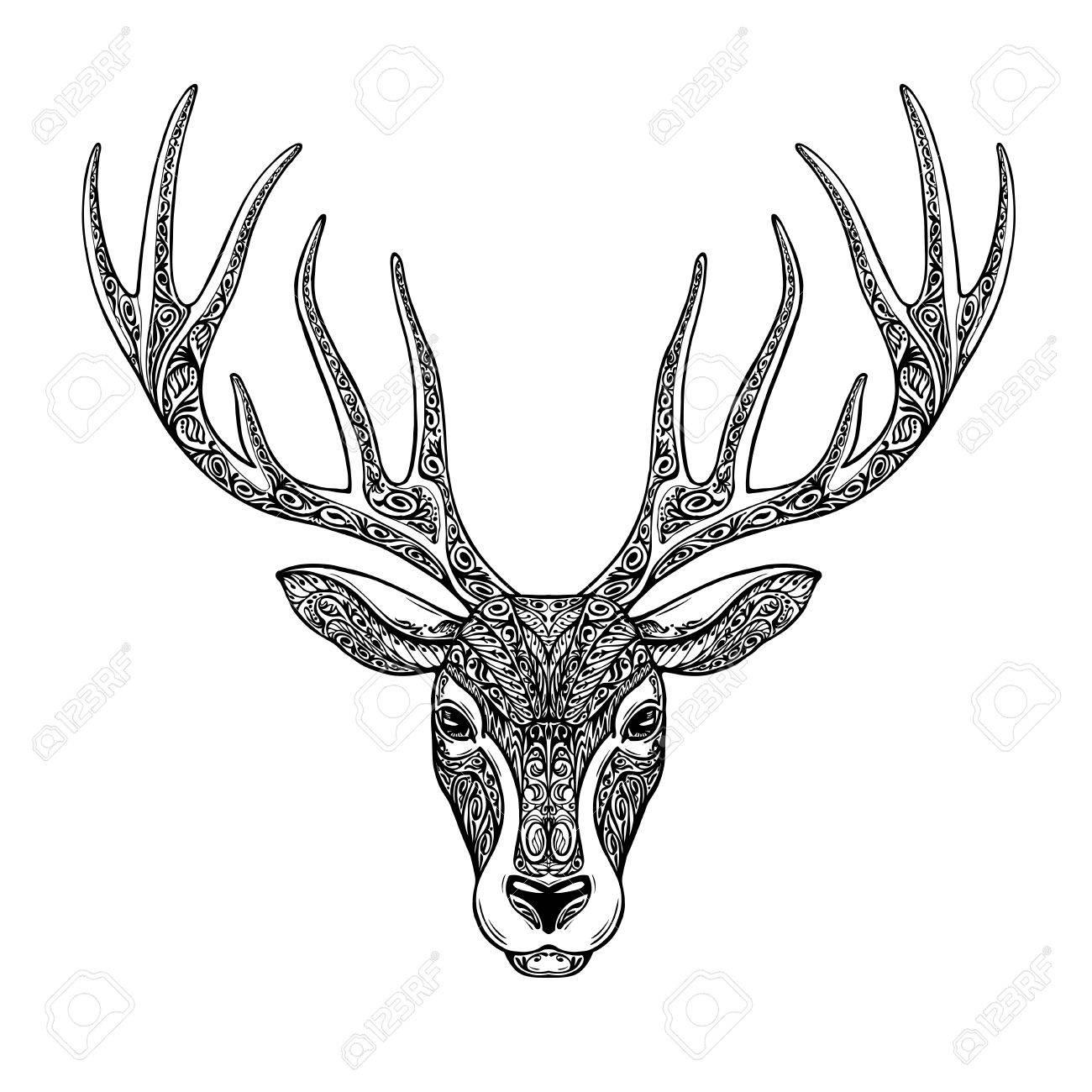 1300x1300 Hand Drawn Head Deer, Reindeer. Ethnic Patterns. Christmas, Xmas