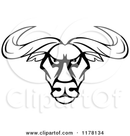 450x470 Clipart Of An Intimidating Black And White Bull Head