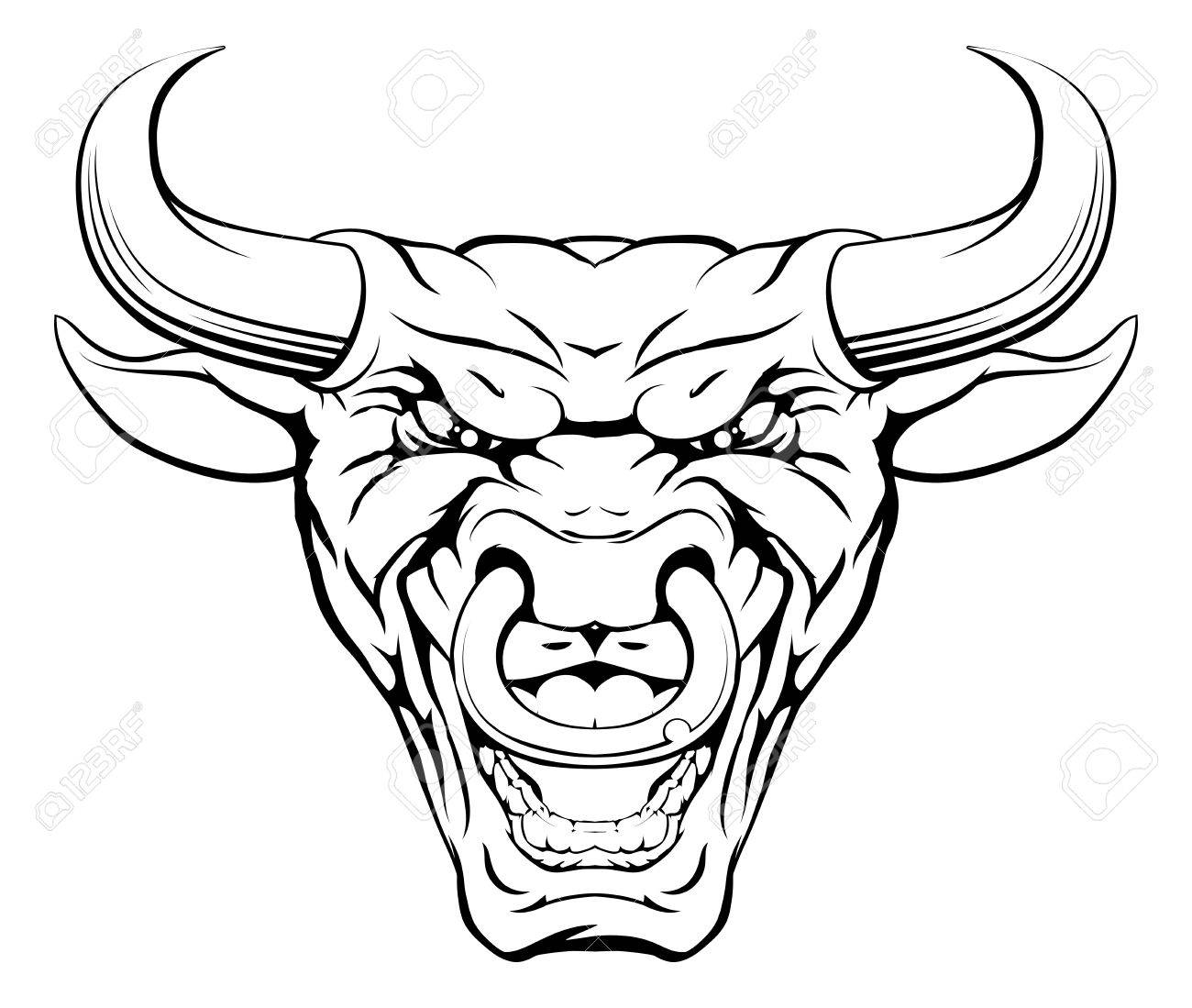 1300x1099 A Mean Looking Bull Mascot Character With A Ring Through Its