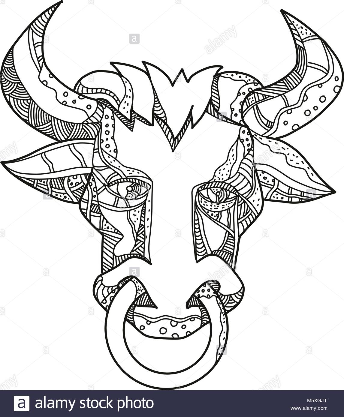 1146x1390 Doodle Art Illustration Of Head Of Pinzgauer Bull Or Cow, A Breeed