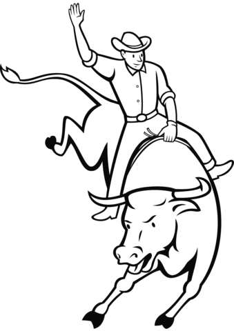 339x480 Rodeo Bull Riding Coloring Page Free Printable Coloring Pages