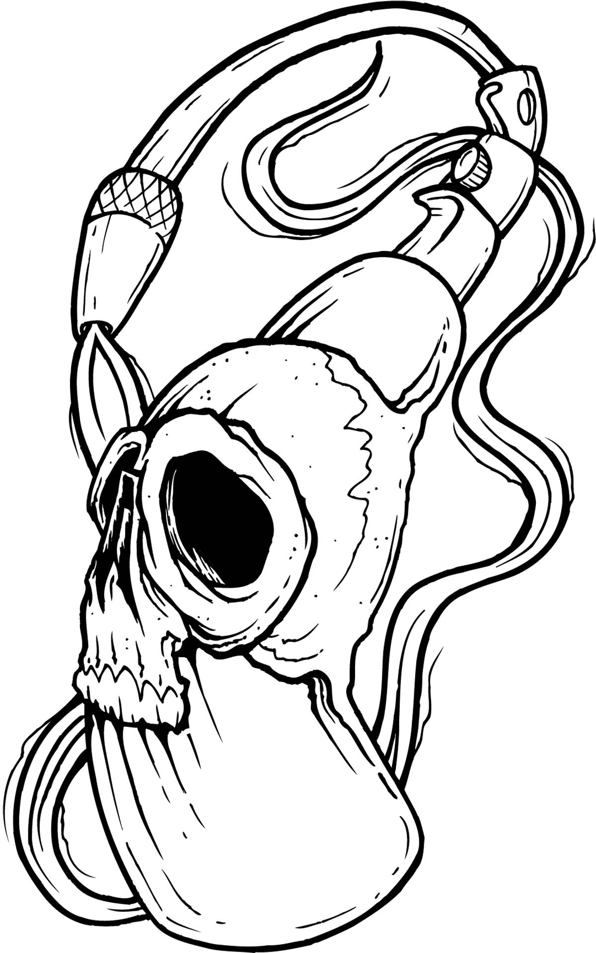 1200x1917 Bull Skull Line Drawing How To Draw Skull Tattoos Chainimage