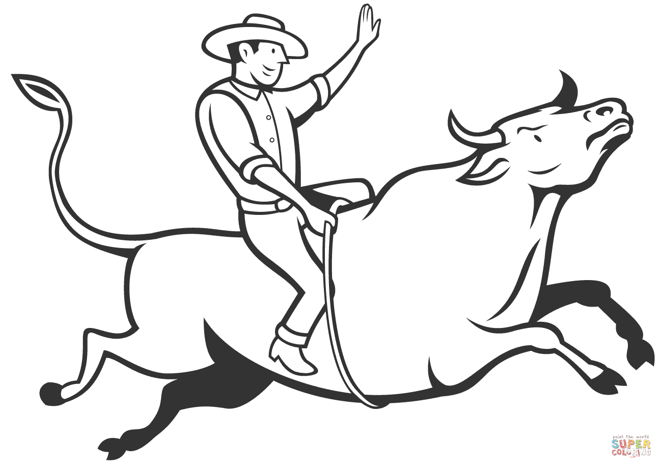 1300x919 Bull Riding Drawings Rodeo Cowboy Bull Riding Coloring Page Free