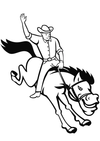 339x480 Rodeo Cowboy Riding Bucking Bronco Coloring Page Free Printable