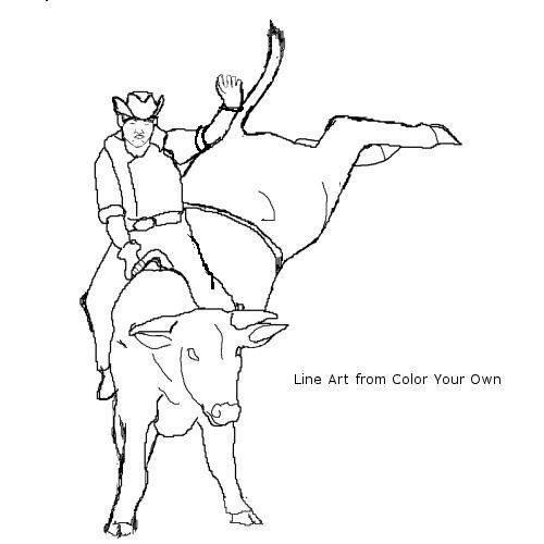 500x500 Bull Riding Coloring Pages