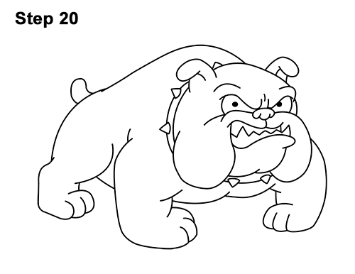 500x386 How To Draw A Bulldog (Cartoon)
