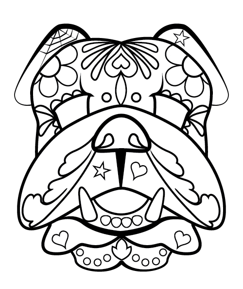 500x593 Artist Bloc Sugar Skull And Bulldog Template Downloads