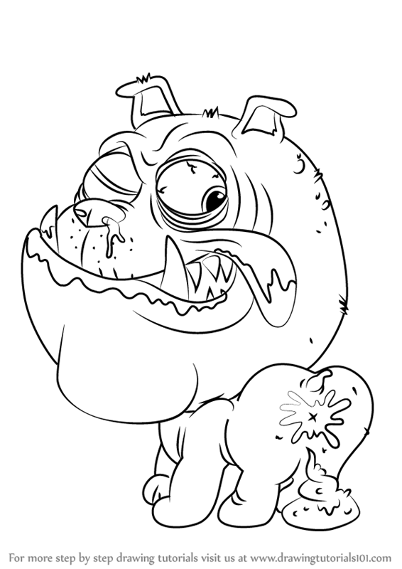 566x800 Learn How To Draw Blubbering Bulldog From The Ugglys Pet Shop (The