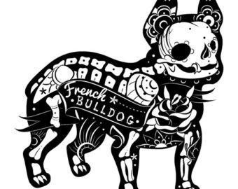 340x270 Bulldog Sugar Skull Etsy