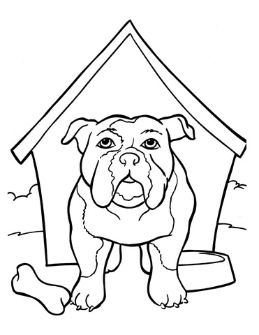 371x480 Bulldog Is In The Kennel Coloring Page Free Printable Coloring Pages