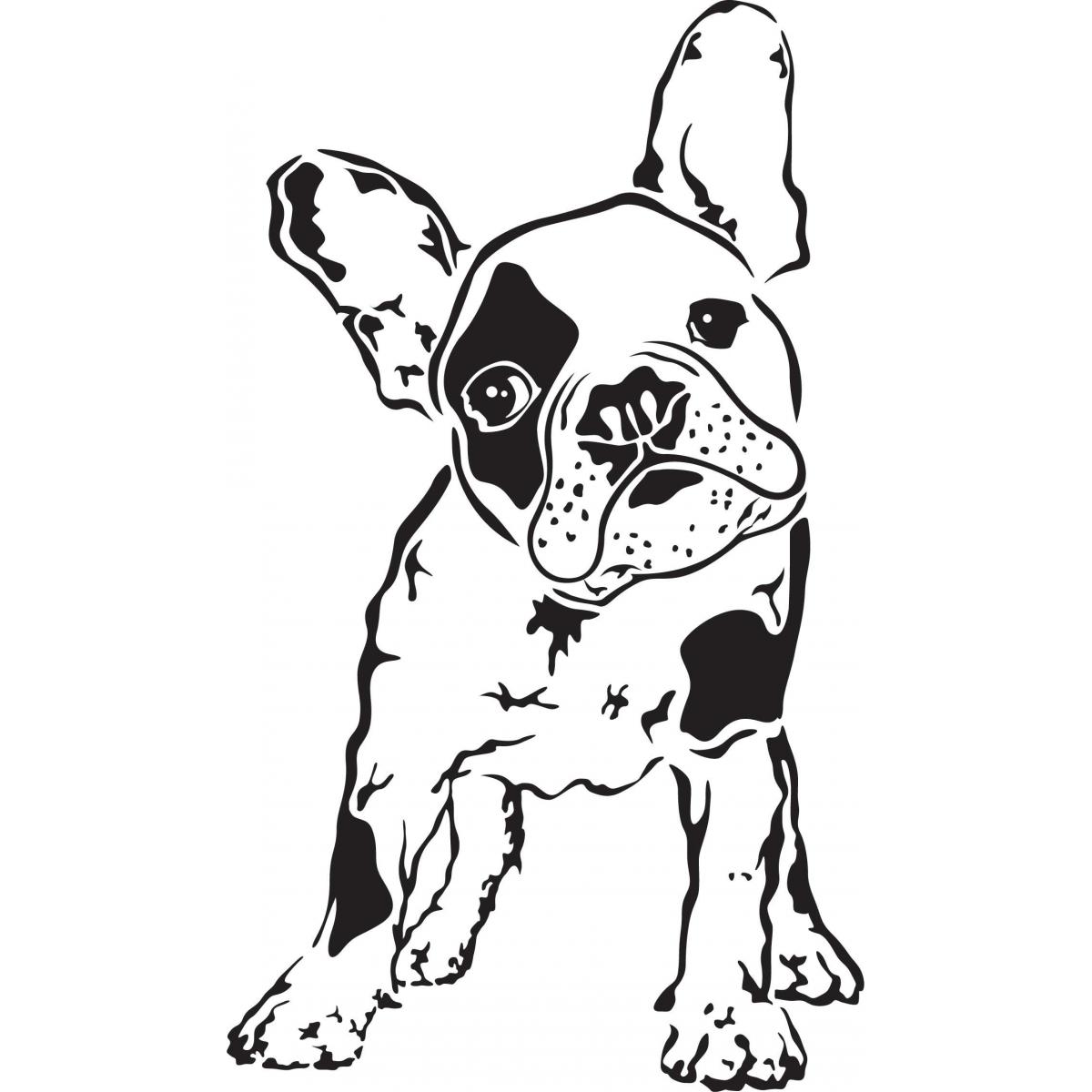1200x1200 French Bulldog Face Drawing