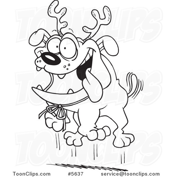 581x600 Cartoon Black And White Line Drawing Of Christmas Bulldog Wearing