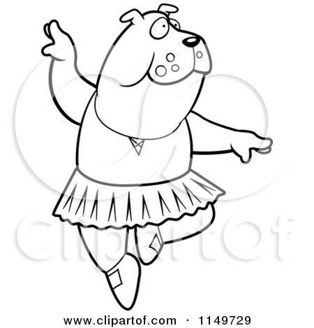 450x470 Cartoon Clipart Of Blacknd White White Ballerina Bulldog In