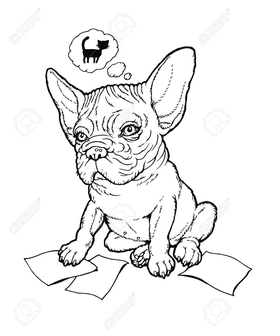 1086x1300 Black And White Line Drawing Plump French Bulldog Puppy Thinking