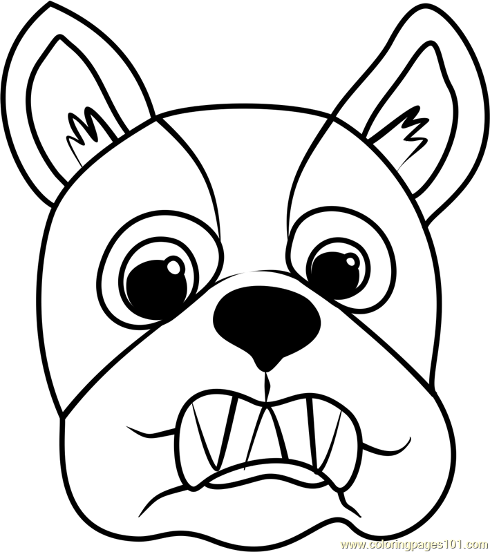 709x799 French Bulldog Puppy Face Coloring Page