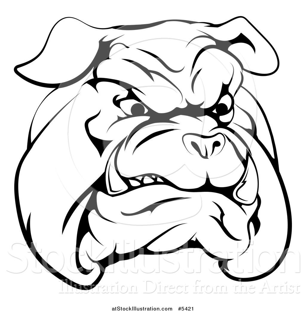 1024x1044 Vector Illustration Of A Black And White Snarling Bulldog Mascot