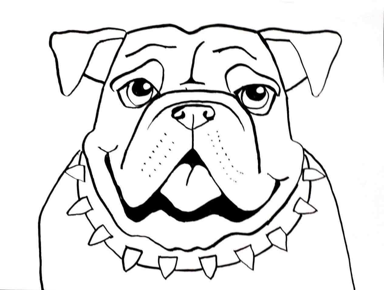 1264x953 Happy Bulldog Face Drawing