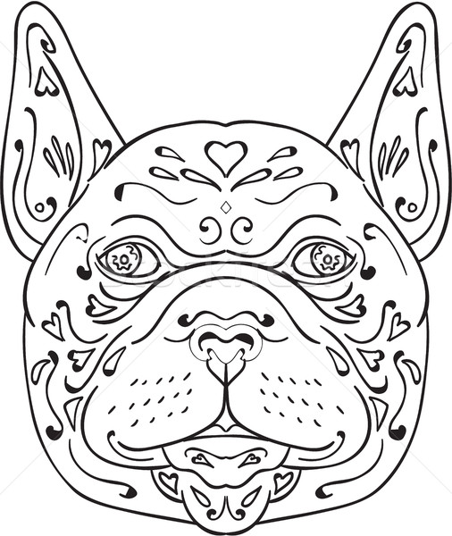 506x600 French Bulldog Head Mandala Vector Illustration Aloysius