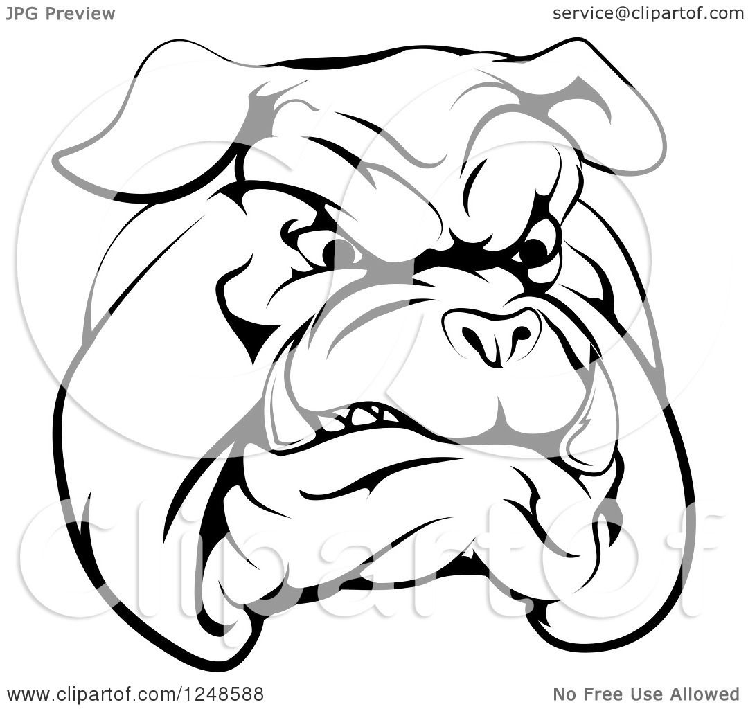 1080x1024 Clipart Of A Black And White Snarling Bulldog Mascot Face