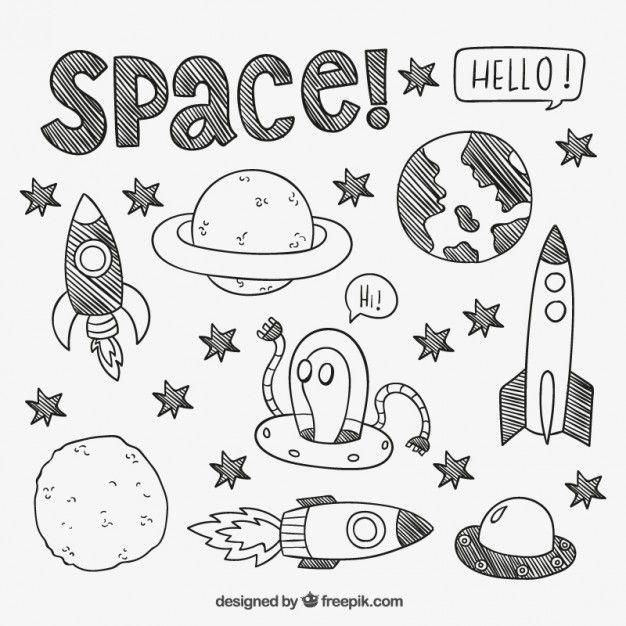 626x626 Desenho Elementos Espaciais Outer Space, Bullet And Doodles