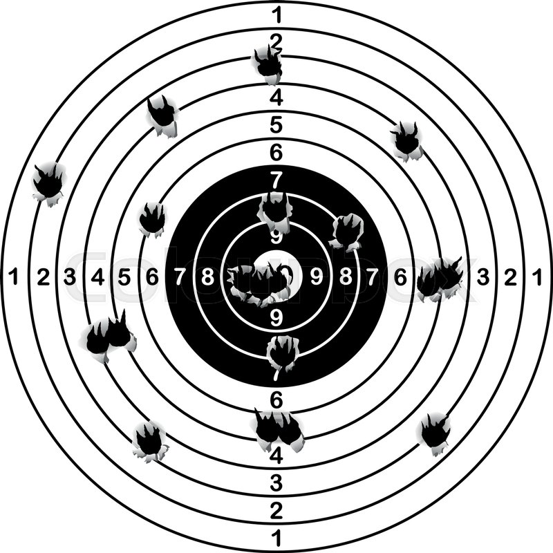 800x800 Shooting Range Target Shot Of Bullet Holes, Vector Illustration