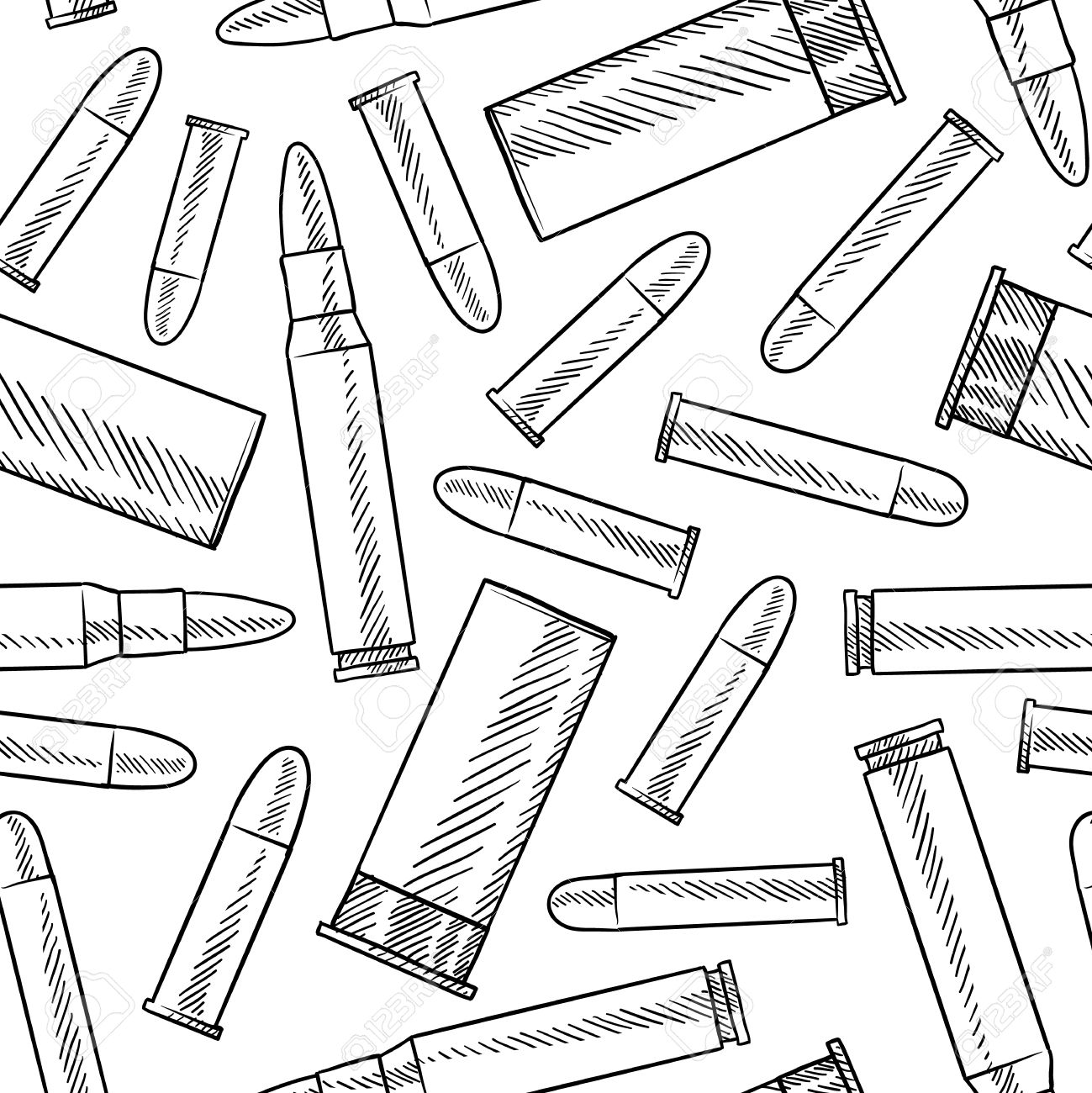 1299x1300 Doodle Style Seamless Bullets Background Illustration In Vector