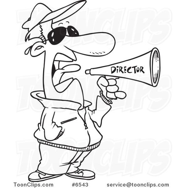 581x600 Cartoon Blacknd White Line Drawing Of Movie Director Using