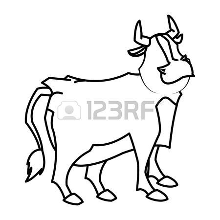 450x450 Cartoon Funny Bull Horn Farm Animal Vector Illustration Royalty