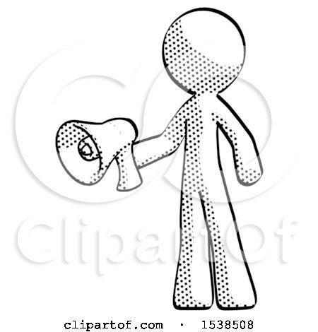 450x470 Halftone Design Mascot Man Holding Megaphone Bullhorn Facing Right