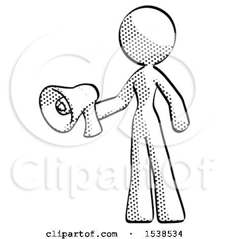 450x470 Halftone Design Mascot Woman Holding Megaphone Bullhorn Facing