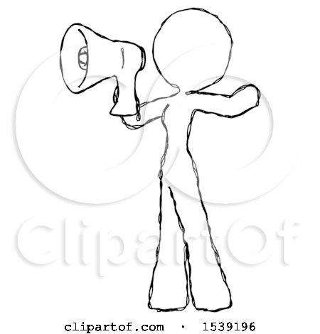 450x470 Sketch Design Mascot Woman Shouting Into Megaphone Bullhorn Facing