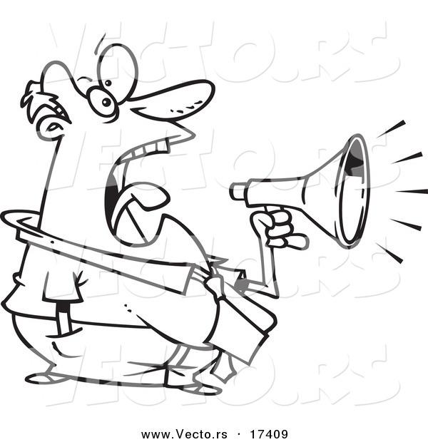 600x620 Vector Of A Cartoon Businessman Screaming Through A Bullhorn