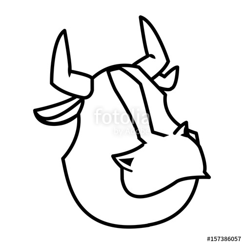 500x500 Cartoon Funny Bull Horn Farm Animal Vector Illustration Stock