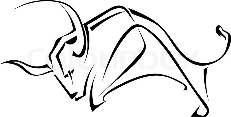 800x405 Isolated Black Silhouette Of A Bull On A White Background