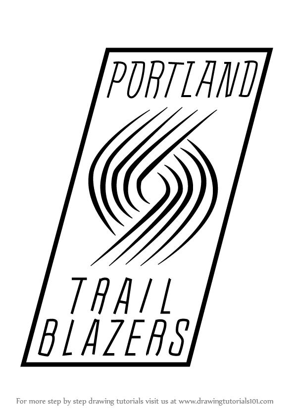 596x842 Learn How To Draw Portland Trail Blazers Logo (Nba) Step By Step