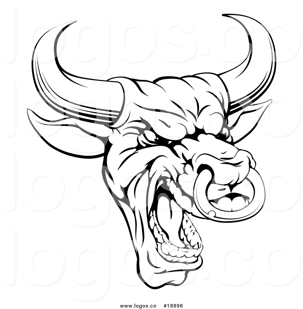 1024x1044 Vector Logo Of A Black And White Mad Bull Mascot Head By