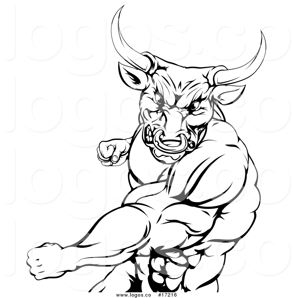 1024x1044 Vector Logo Of A Black And White Mad Bull Or Minotaur Mascot