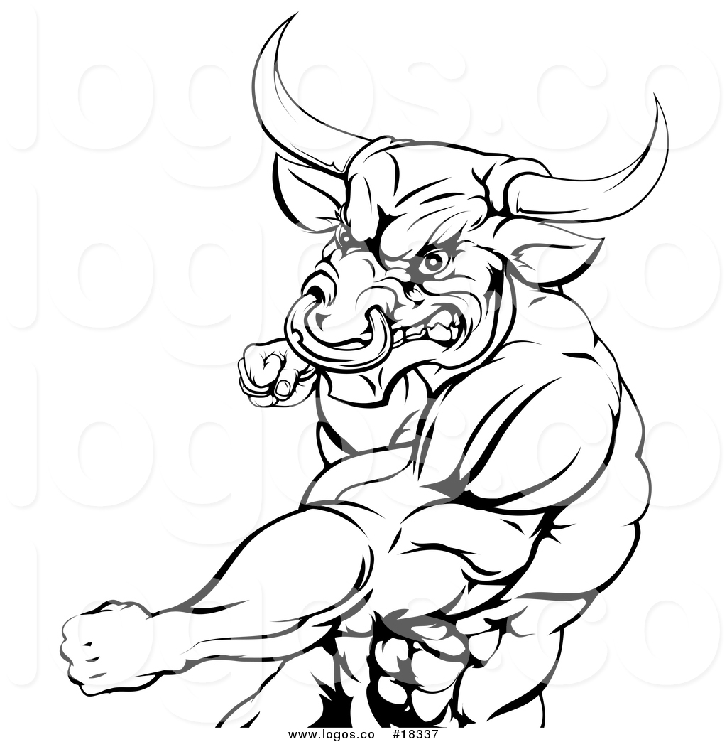 1024x1044 Vector Logo Of A Black And White Muscular Bull Or Minotaur Man