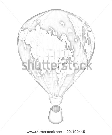 390x470 Hot Air Balloons As The Earth With Gondola. Colorful Illustration