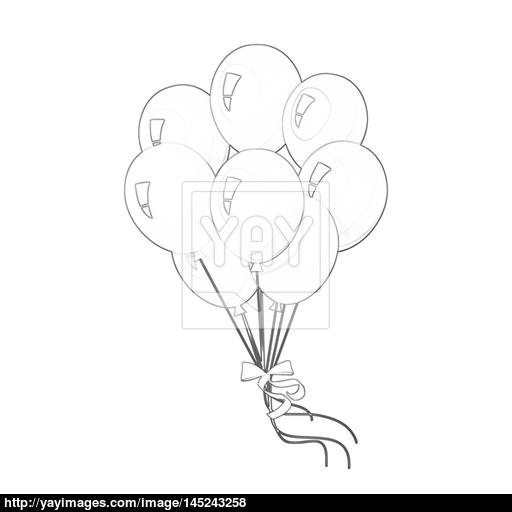 512x512 Illustration Coloring Book Series Bunch Of Balloons. Soft Line