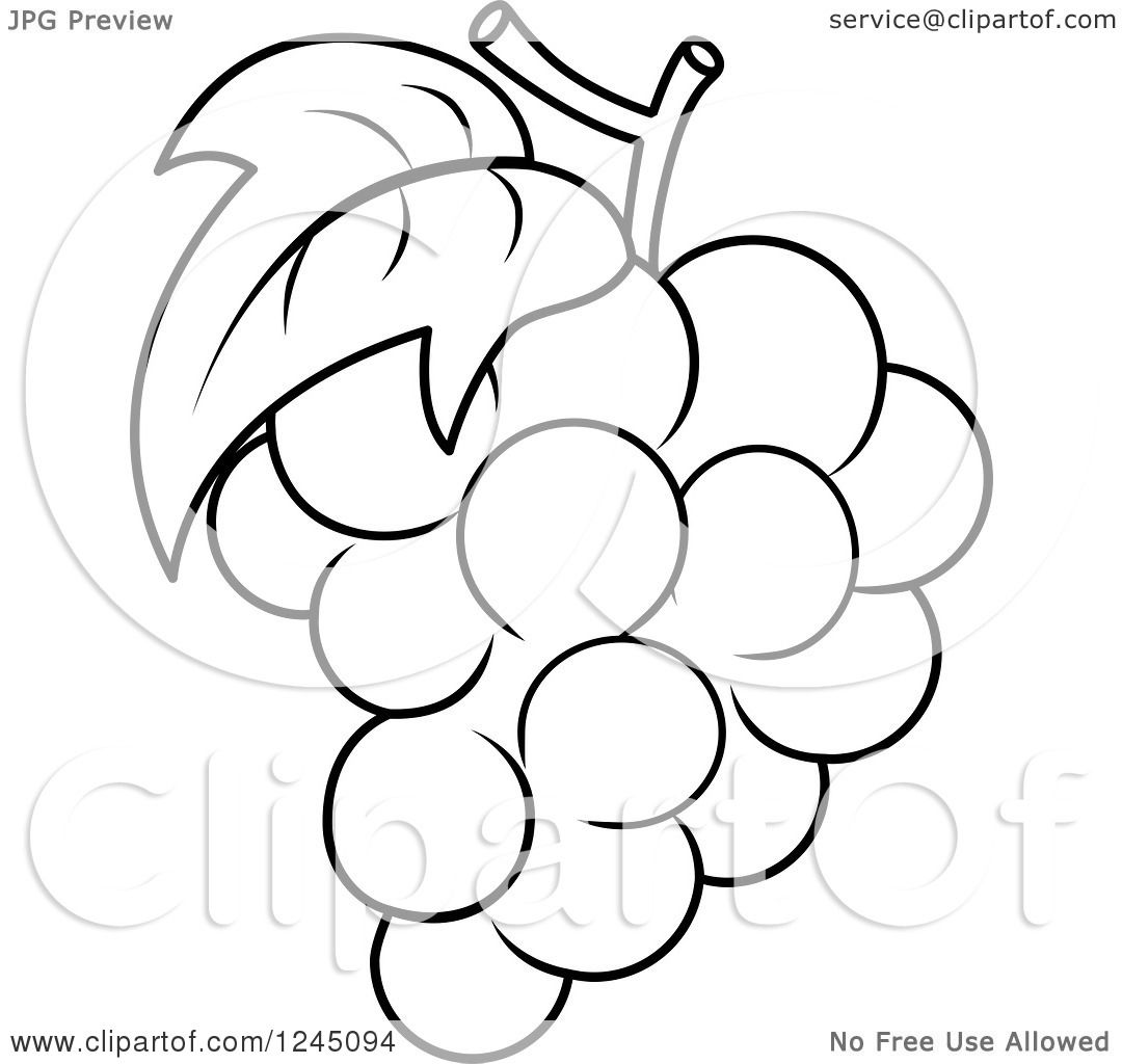 1080x1024 Clipart Of A Black And White Bunch Of Grapes