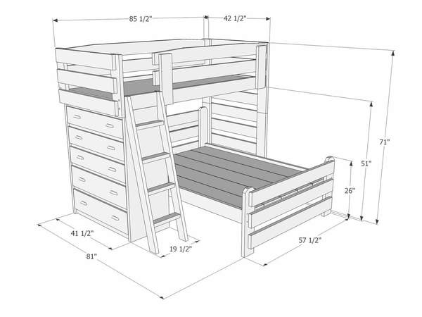 600x450 L012 Twinfull L Shape Bunk Bed The Bunk Amp Loft Factory