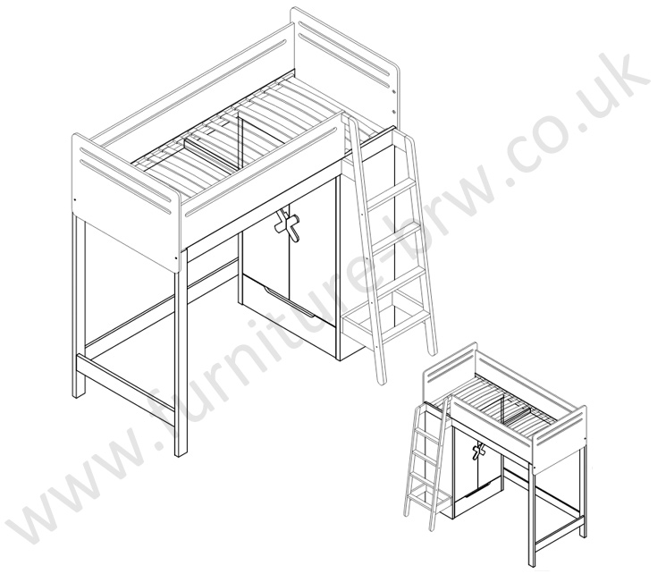 745x642 Simple T01 18 Bunk Bed Timoore. Polish Timoore Modern Furniture