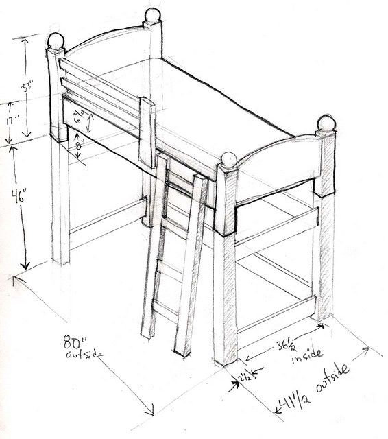 566x640 Loft Bed Sketch By Randy.troppmann, Via French Homework