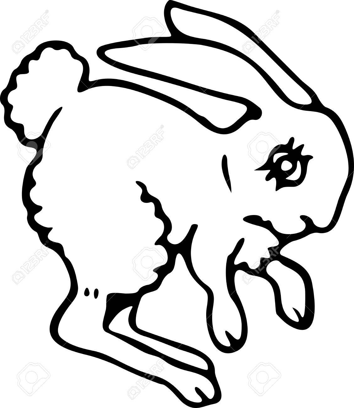 1128x1300 Simple Black And White Line Drawing Of A Cartoon Bunny Rabbit
