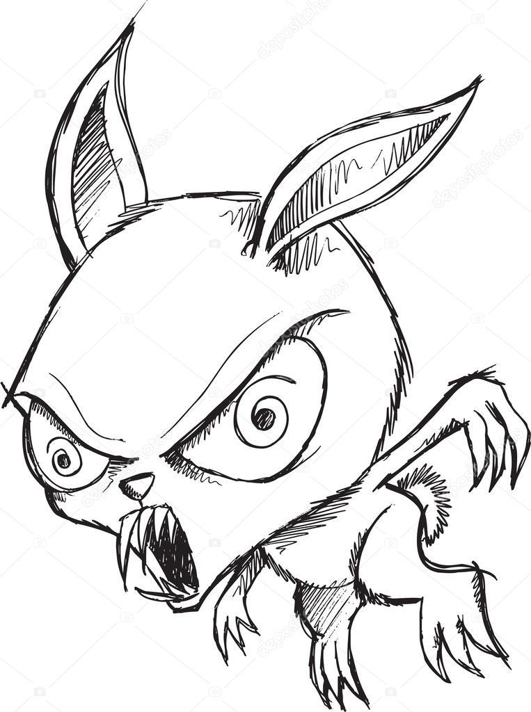 763x1024 Sketch Doodle Drawing Zombie Bunny Vector Art Stock Vector